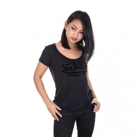 T-shirt Col V Femme Von Dutch Tigresse Imprimé Noir