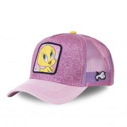 Casquette Capslab trucker Looney Tunes Tweety rose pailleté