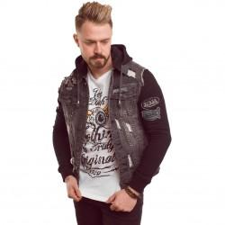 Veste Jeans Bi-matière Homme Von Dutch Dutch Used Noir