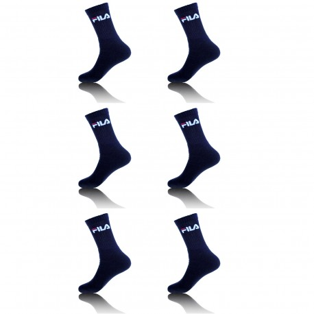 Lot de 6 paires de chaussettes Tennis homme Fila Bleu