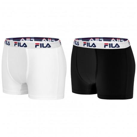 Lot de 4 Boxers Coton homme Fila 5016 Noir et Blanc