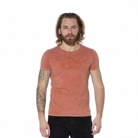 T-shirt homme col rond effet usé et brodé One