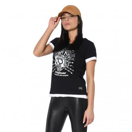 Tshirt femme col rond bi-matière imprimé devant Ree