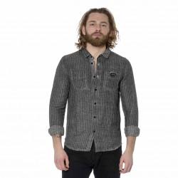 Chemise homme manches longues en lin avec rayures Tom