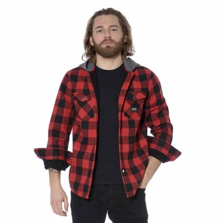 Chemise à capuche homme gros carreaux