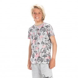 T-shirt Freegun Flamant Gris