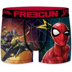 Boxer Homme Freegun Spider Man Toile Rouge et Bleu
