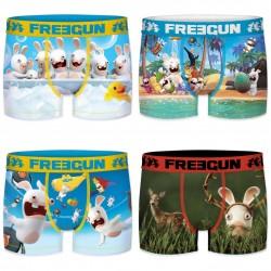 Lot de 4 Boxers Homme Freegun Lapins Crétins Fun Multicolore